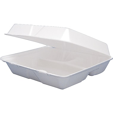 Dart ® Foam Carryout Hinged Food Container, 3 Comp, 3in.(H) x 9 1/4in.(W) x 9 1/2in.(D), White