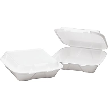Boardwalk ® Snap-it Foam Carryout Hinged Food Container, 3 Comp, 3in.(H) x 9 1/4in.(W) x 9 1/4in.(D)