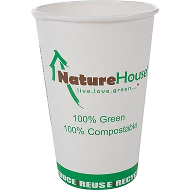 NatureHouse® Paper/PLA Corn Plastic Hot Cup, 16 oz., Black, 50/Pack