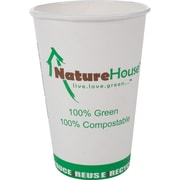 NatureHouse® Paper/PLA Corn Plastic Hot Cup, 16 oz., 50/Pack