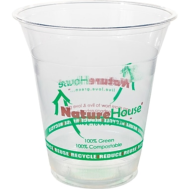 NatureHouse® Corn Plastic Printed Cold Cup, 16 oz., Clear, 50/Pack