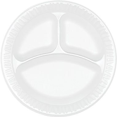 Dart® Concorde® Non-Laminated Round Foam Compartmented Plate, 9in.(Dia), White, 125/Pack, 500/Carton