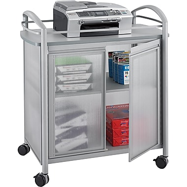 Safco ® Impromptu ® 2 Door Refreshment Cart, 1 Shelf, 36 1/2in.(H) x 34in.(W) x 21 1/4in.(D), Silver/Gray