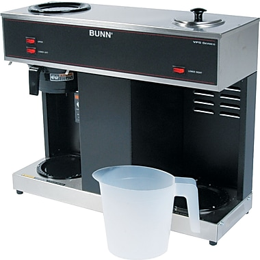 Bunn ® Pour-O-Matic ® 3 Burner 12 Cup Pour-Over Coffee Brewer, Stainless Steel, Black