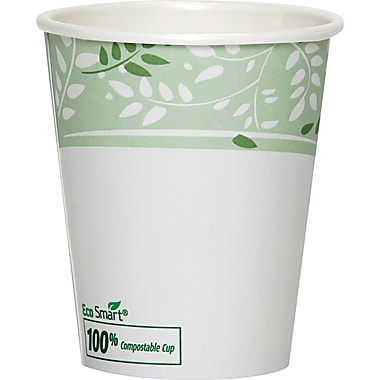 Dixie® Viridian™ Paper Hot Cup with PLA lining, 10 oz., White/Green, 1000/Carton