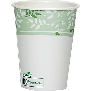 Dixie® Viridian™ White/Green Paper Hot Cups with PLA lining