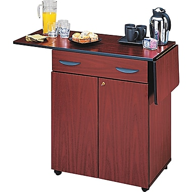 Safco ® 2 Door Hospitality Service Cart, 1 Shelf, 38 3/4in.(H) x 32 1/2in.(W) x 20 1/2in.(D), Mahogany
