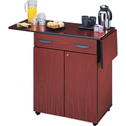 "Safco ® 2 Door Hospitality Service Cart, 1 Shelf, 38 3/4""(H) x 32 1/2""(W) x 20 1/2""(D), Mahogany"