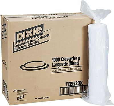 Dixie Plastic Lid for Dixie Sage Collection 8oz Hot Drink Cups, White, 1000/Carton (TB9538X) 818572