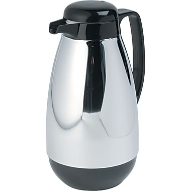 Hormel Vacuum Glass Lined Chrome Plated Coffee Carafe, 1 Liters, Black Trim