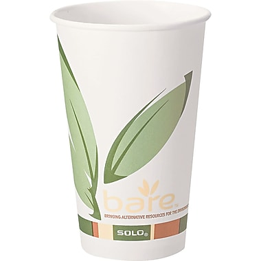 Solo  Bare Eco Forward Recycled Content PCF Paper Hot Cup, 12 oz., 1000/Carton