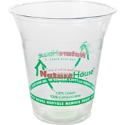 NatureHouse® Corn Plastic Printed Cold Cup, 12 oz., Clear, 50/Pack
