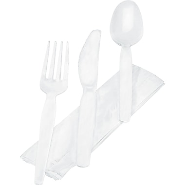 Dixie ® Plastic Wrapped Tableware/Napkin Packet Utensil Set with Napkin, White, 250/Carton