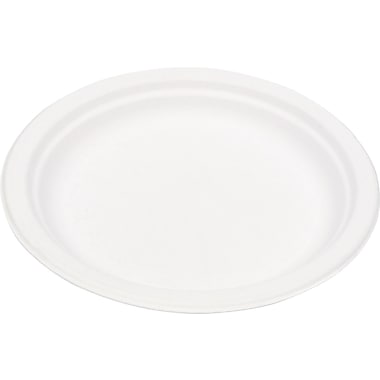 Eco Products  Compostable Round Sugarcane Plate, 9in.(Dia), Natural White, 500/Carton