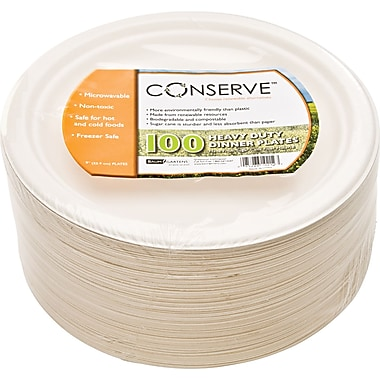 Baumgartens Conserve® Round Sugarcane Fiber Plate, 9in.(Dia), White, 100/Pack