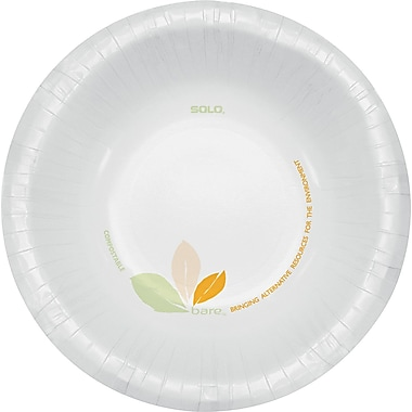 Solo® Bare™ Paper Bowl, 12 oz., Green Tan, 500/Carton