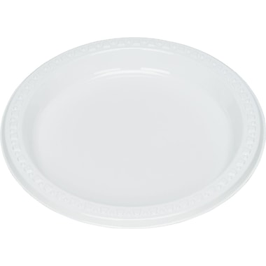 Tablemate® Disposable Round Plastic Plate, 7in.(Dia), White, 125/Pack
