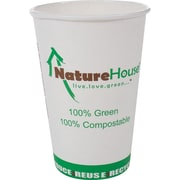 NatureHouse® Paper/PLA Corn Plastic Hot Cup, 8 oz., Black, 50/Pack