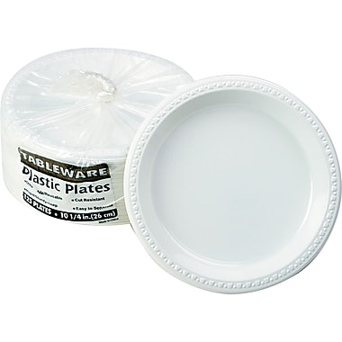 Tablemate® Disposable Round Plastic Plate, 10 1/4in.(Dia), White, 125/Pack