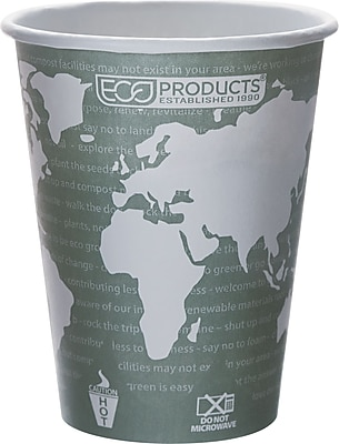 Eco Products World Art Renewable and Compostable PLA Plastic Hot Cup, 12 oz., Green, 1000/Carton 812550