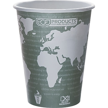 Eco-Products® World Art™ Renewable and Compostable PLA Plastic Hot Cup, 12 oz., Green, 50/Pack