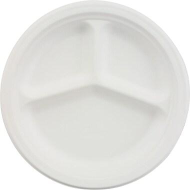 Chinet® 500/Carton White 3 Comp Classic Round Paper Plates