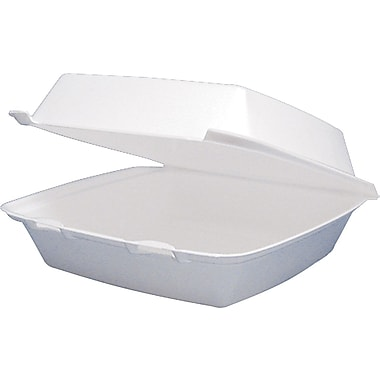 Dart® Foam Carryout Hinged Food Container, 1 Comp, 3 1/4in.(H) x 8 3/8in.(W) x 7 7/8in.(D), White