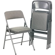 Bridgeport Deluxe Fabric Padded Seat And Back Folding Chair, Cavallaro Gray