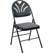 COSCO Bridgeport Fanfare Fabric Padded Seat Deluxe Molded Back Folding Chair, Kinnear Black