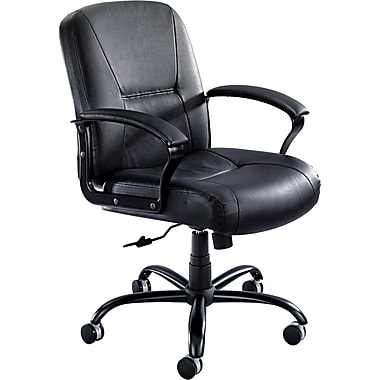 Safco Serenity Big And Tall Mid Back Genuine Leather Chair Black Staples