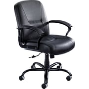 Safco ® Serenity Big And Tall Mid Back Genuine Leather Chair, Black