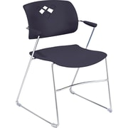 Safco  Veer Stacking Chair With Arms And Sled Base, Black/Chrome