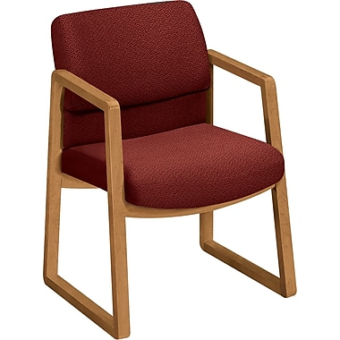 HON® 2400 Series Fabric Sled Base Guest Chair, Burgundy/Harvest (HON2403CAB62)