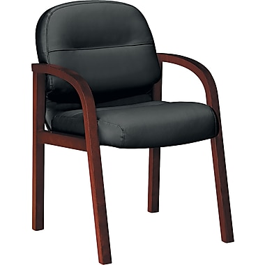 HON ® 2190 Pillow Soft ® Genuine Leather Guest Arm Chair, Black, Mahogany Base