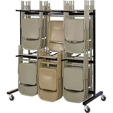 Safco ® Steel Two-Tier Chair Cart, Black, 70 1/4in.H x 64 1/2in.W x 33 1/2in.D