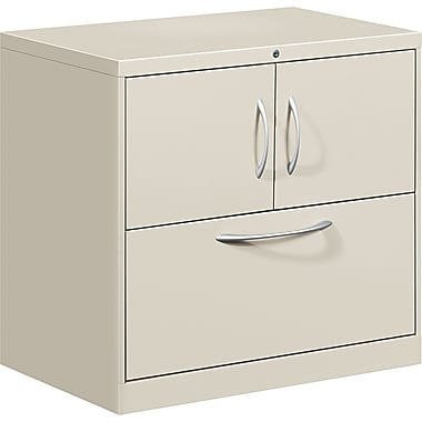 HON® Flagship® 18in.D 1 Drawer File Center With Storage Cabinet And Lateral File, Gray