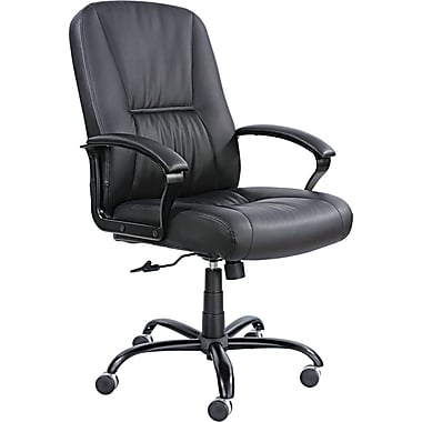 Safco ® Serenity Big And Tall High Back Genuine Leather Chair, Black