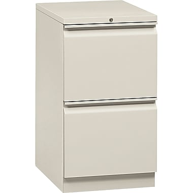 HON® Flagship® 19 7/8in.D 2 Drawer Mobile File/File Pedestal, Light Gray, Full Radius Drawer Pull