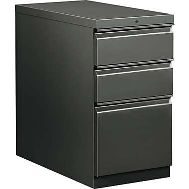 HON  Flagship  28 7/8in.D 3 Drawer Mobile Box/Box/File Pedestal, Charcoal, Full Radius Drawer Pull