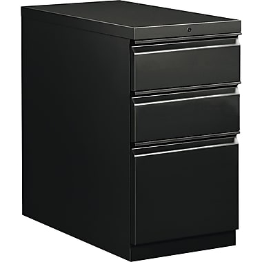 HON  Flagship  28 7/8in.D 3 Drawer Mobile Box/Box/File Pedestal, Black, Full Radius Drawer Pull
