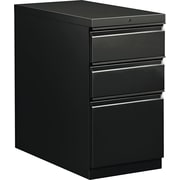 HON  Flagship  28 7/8D 3 Drawer Mobile Box/Box/File Pedestal, Black, Full Radius Drawer Pull