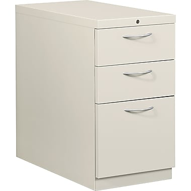 HON® Flagship® 28 7/8in.D 3 Drawer Mobile Box/Box/File Pedestal, Light Gray, Satin Chrome Arch Pull