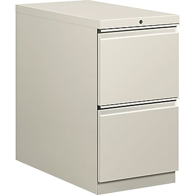 HON  Flagship  28 7/8in.D 2 Drawer Mobile File/File Pedestal, Light Gray, Full Radius Drawer Pull