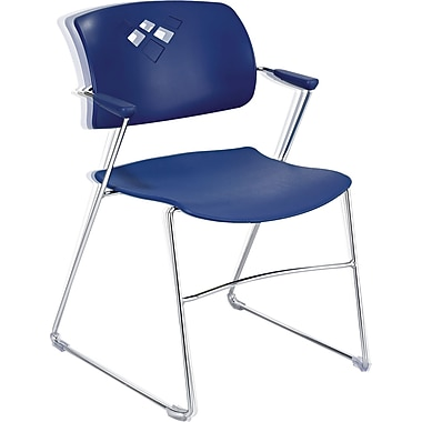Safco Veer Stacking Chair With Arms And Sled Base, Blue/Chrome