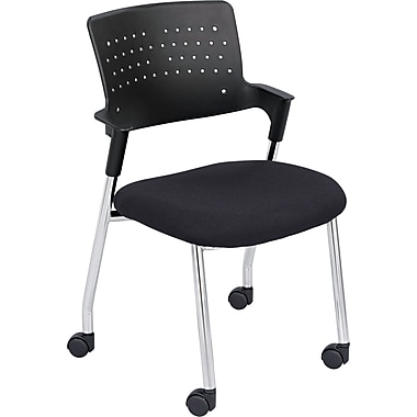 Safco ® Spry Fabric Guest Chair With Casters, Black/Chrome