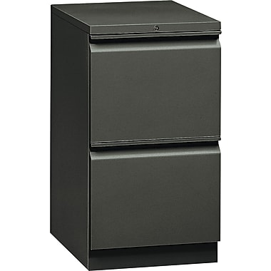 HON  Flagship  19 7/8in.D 2 Drawer Mobile File/File Pedestal, Charcoal, Full Radius Drawer Pull