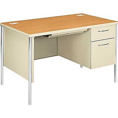 HON ® Mentor ® Steel Base Single Pedestal Desk, 29 1/2in.H x 48in.W x 30in.D, Harvest/Putty