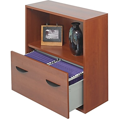Safco ® Apres Laminated Compressed Wood File Drawer Cabinet, 29 3/4in.H x 29 3/4in.W, Cherry