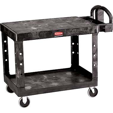 Rubbermaid® 33 1/3in.H x 25 7/8in.W x 43 7/8in.D Commercial Flat Shelf Utility Cart, Black