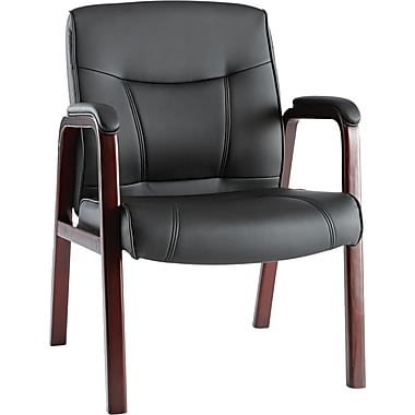Alera® Madaris Soft-Touch Leather Guest Chair With Wood Trim Legs, Mahogany/Black
